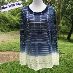 Ombre Tunic Top Sheer Lightweight Long Sleeve PXL